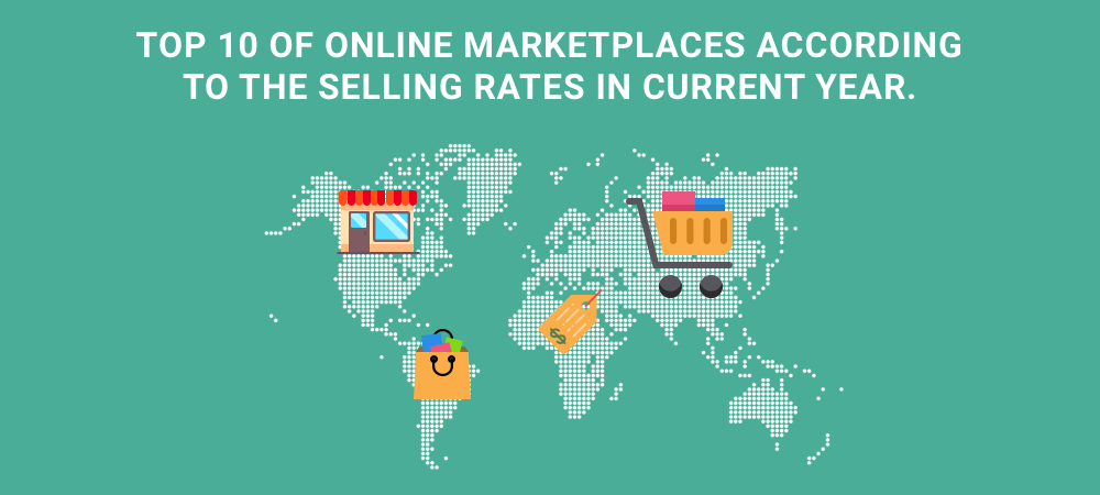 Illustration Top 10 online marketplaces according to the selling rates in current year